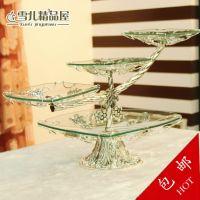 水果盘客厅创意家用 三层玻璃葡萄藤大果盆KTV欧式多层蛋糕盘架子