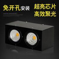和盛仕如 LED斗胆灯双头射灯单头led明装射灯免开孔吸顶方形射灯