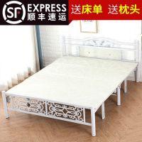 简约折叠床中式午休床木板床双人床单人床家用出租房铁艺加厚成人