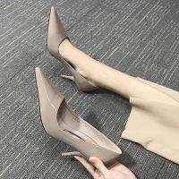 2018春季新款韩版百搭性感少女漆皮高跟鞋细跟尖头黑色职业单鞋夏
