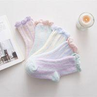 新款珊瑚绒袜卡通泡泡女袜花边彩条可爱毛圈中筒袜秋冬加厚袜子