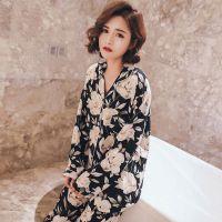夏季睡衣女长袖薄款棉绸套装春秋开衫宽松大码两件套人造棉家居服