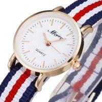 时尚英伦女款手表小表盘女士手表五彩编织尼龙布带细表带石英表