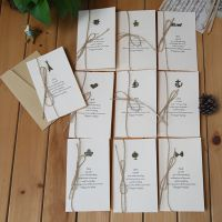 复古创意金属贺卡通用型带信封麻绳卡片diy手工父亲节个性贺卡
