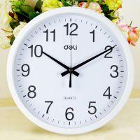 得力9006时尚挂钟卧室客厅办公静音时钟挂表简约创意石英钟表