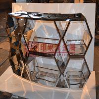 厂家定制304镜面玫瑰金不锈钢展柜 不锈钢展示柜