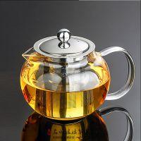 定制 泡茶壶 带不锈钢过滤内胆茶漏 耐热玻璃 钢漏壶加工