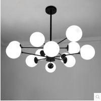 白魔豆北欧美式简约现代创意个性吊灯客厅灯具卧室餐厅玻璃铁艺灯