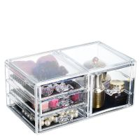 透明化妆品化妆盒亚克力抽屉式桌面整理盒 可叠加首饰珠宝收纳盒