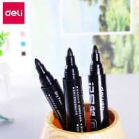 得力6821黑色记号笔大头笔防水不掉色油性笔粗头不褪色签名马克笔