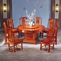 爆款红木家具饭桌餐桌组合圆形餐台 刺猬紫檀