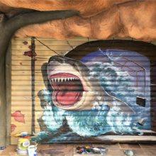 文化墙手绘-橙与蓝-厦门手绘墙