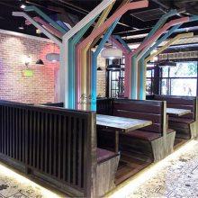北京烤鱼店卡座沙发定做,工业风主题餐厅卡座桌子家具厂家