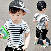 中小童男童条纹短袖T恤字母中裤宝宝两件套1-2-3-4-5岁幼儿夏季批