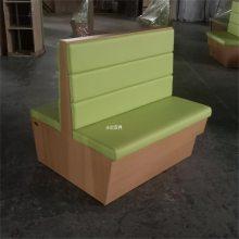 郴州时尚奶茶店卡座沙发,木纹色板材卡座家具定制