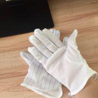 厂家直销防静电双拼白条纹点塑手套 黎里工业防静电点珠手套