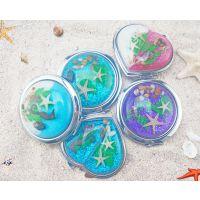 可折叠双面化妆镜 海边旅游纪念品 精美个性小镜子 创意小礼品
