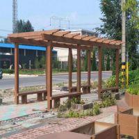 聊城中达厂家供应防腐木长廊 景观水泥仿木长廊 古建筑六角凉亭