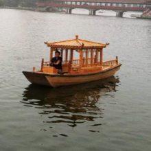 楚风热销 河南信阳 7米电动单亭木船 观光旅游船