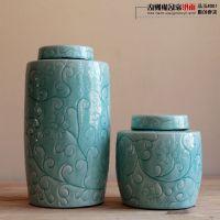 摆件|家饰摆件 影青冰裂陶瓷装饰摆件 新古典经典陶瓷圆罐