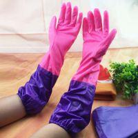 冬季家用厨房防水手套/橡胶胶皮加绒手套/刷碗洗衣加厚保暖手套//