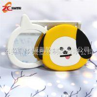 厂家直销 PVC滴胶旋转镜 卡通创意化妆镜外出携带镜子定制
