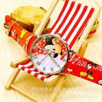米奇米妮儿童男孩女孩韩版防水皮带卡通手表