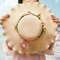 草帽女夏天沙滩帽遮阳帽帽子女夏天韩版太阳帽女夏可折叠海边度假