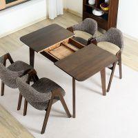 日式全实木餐桌椅组合北欧简约小户型可伸缩餐桌长方形