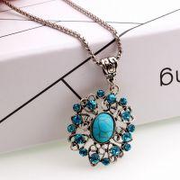 厂家直销 欧美大牌新娘水钻心形绿松石项链批发 Ebay速卖通饰品