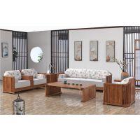 供应木言木语2019新款新中式实木沙发组合 黄菠萝木药木家具