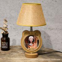 热卖批发 实木圆形台灯相框双面可放照片 创意礼品影楼活动专用