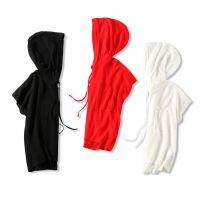 18夏季新品 慵懒腔调 轻薄透气 宽松显瘦蝙蝠袖连帽冰丝针织T恤女