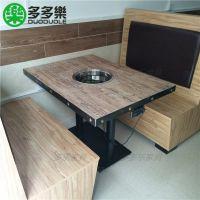 川味火锅店家具定制 陶瓷三D打印复古风台面 方型电磁炉火锅桌子