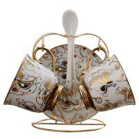 创意花纹配碟勺子欧式陶瓷咖啡杯套装套具 红茶杯带杯架创意礼品