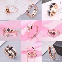 报刊韩版18k玫瑰金钛钢戒指简约潮人学生送女友情侣食指钻戒批发