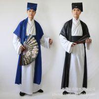 新款古装书生才子表演服古代服装中国风演出服亚麻唐装汉服男戏服