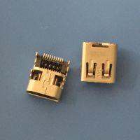 板上hdmi 19P-高清音频插座 MICRO HDMI D款音频插座 四脚插板 前插后贴 双排贴