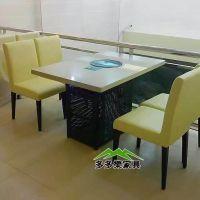 深圳餐饮家具厂家生产大理石煤气火锅桌 现代中式煤气炉火锅桌子