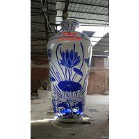 商业广场青花瓷景观雕塑 大型玻璃钢青花瓷彩绘梅瓶 花瓶摆件