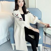 2017春装新款韩版宽松中长款灯笼袖袖子绣花V领外套针织衫开衫女