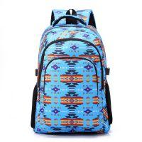 厂家批发定制出口欧美印花撞色帆布大容量双肩包旅游背包学生书包休闲包
