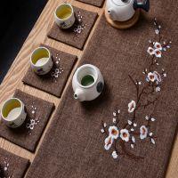 中式刺绣梅花棉麻茶席中国风茶道干泡禅意古典茶席