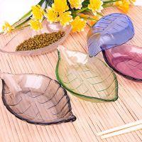 创意多彩树叶碟彩色玻璃小吃碟子手工日式餐具玻璃果盘会销礼品