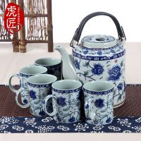 虎匠景德镇陶瓷茶壶大容量复古青花冷水壶套装家用大号提梁壶茶具