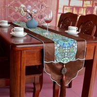 古典仿云锦桌旗 复古中国风餐桌旗定制 中式家居布艺一件代发
