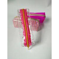 双层金属拉链透明PVC手提化妆箱 毛巾 洗漱用品隔离收纳化妆包