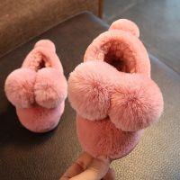 2017秋冬毛球包跟儿童棉拖鞋卡通软底居家毛绒男女童宝宝棉鞋