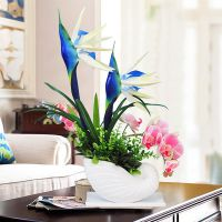 蝴蝶兰仿真花盆景套装塑料花假花绢花客厅电视柜摆件盆栽装饰餐桌