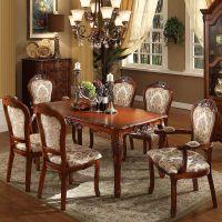 家具 TTJ美式奢华雕花实木餐桌欧式复古小户型餐桌椅组合T8